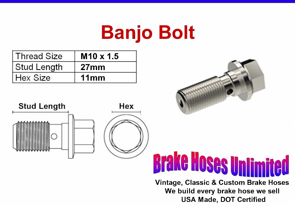 Mustang SN95 Banjo Caliper Bolt 79-2004 New Replacement M10-1.5 MM /& Washers
